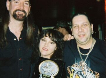 Kenny Burns with 2 of his good friends  A,J. Pero of Twisted Sister and Gina Reno, one of the nights Kenny won best drummer Los Angeles.