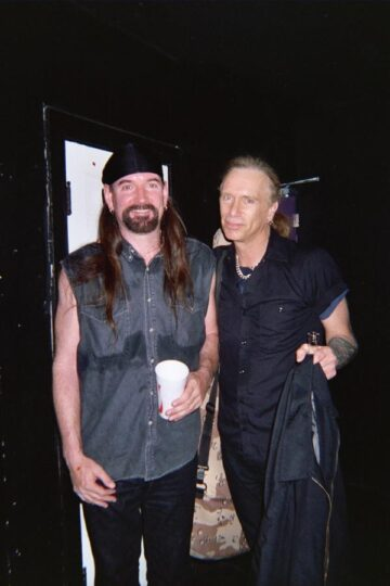 Kenny Burns and Billy Sheehan after playing a blistering show together. Billy was voted best bass player in the world 5 years in a row by guitar player magazine. Keeping up with Billy will make your hands bleed and make you sweat!